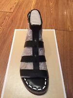 $115 Michael Kors Fallon Black & Optic White Flat Sandals Sz 6.5m