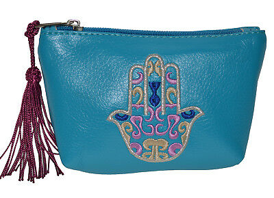 Moroccan Handmade Leather Handbag Clutch Pouch Wallet Embroidered Hamsa Hand