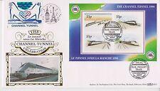 GB FRANCE Channel Tunnel 1994 BENHAM SILK FDC TRIAL RAIL FREIGHT TRAIN WITH COA