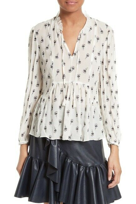 NEW Rebecca Taylor Tulip Fil Coupe Blouse in Snow Combo - Size 8