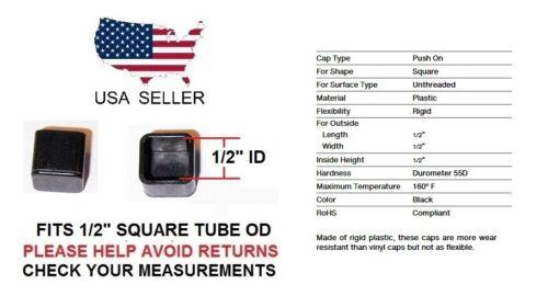 """1//2 INCH RIGID SQUARE TUBING EXTERIOR END CAP 1//2/"""" QUANTITY 4"""