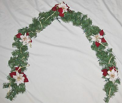 Lighted 70 Quot Red Floral Amp Ribbon Green Evergreen Wreath