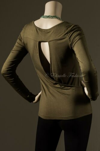 New Women/'s Scoop Neck Long Sleeve Top Cut Out Surplus Back Olive Green S M L