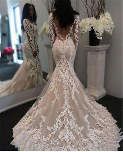 Details About Illusion Long Sleeves Lace Lique Mermaid Wedding Dresses Bridal Gowns Custom