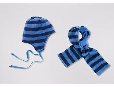 Jungen Schal + Mütze Winter Set Kleinkinder Babys Aus Microfleece Blau - Neu!
