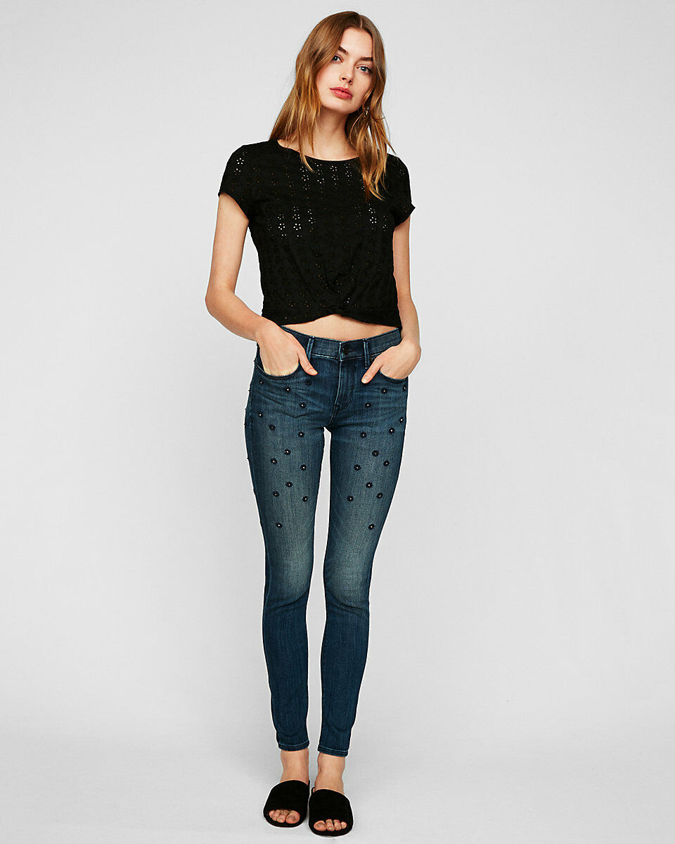 New Express Mid Rise Embellished Stretch Jean Leggings 6R SOLD OUT
