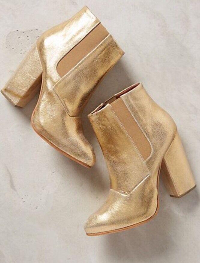 NEW Rachel Comey Beautiful Seton Gold Metallic Booties Ankle Boots $538