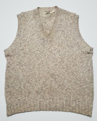 White Eyelet Knit Stripe Sleeveless Sweater Vest Top ML Vintage 1980/'s Beige