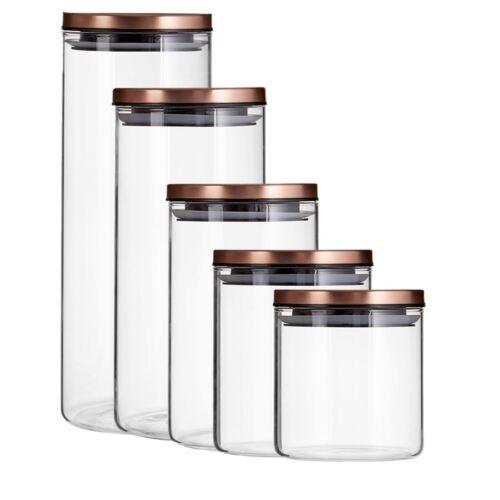 Pack de cartouche de stockage pot rond en verre transparent rose en métal doré couvercle