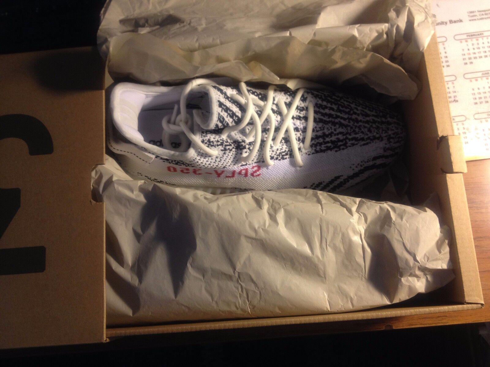 Adidas Yeezy 350 V2 Zebra CP9654 White Black Red SPLY Kanye West Size 8.5