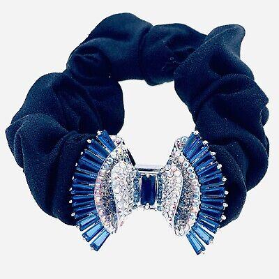 QUALITY Hair Rope Band use Swarovski Crystal Hairpin Ponytail Holder Bow Blue 2