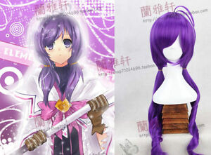 Image Is Loading ANIME Elsword Aisha Cosplay Wig Long Curly Purple
