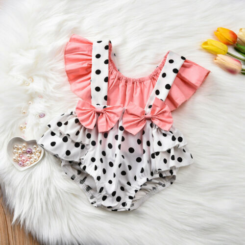 Newborn Infant Baby Girls Shirt Tops Bow Dot Ruffle Suspender Shorts Outfits Set