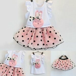 Toddler-Kids-Baby-Girls-Vest-T-shirt-Tops-Tutu-Skirt-Dress-Clothes-Outfits-Set