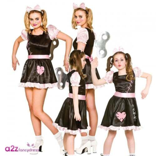 WOMEN GIRL WIND UP DOLL MATCHING ADULT KIDS HALLOWEEN FANCY DRESS COSTUME OUTFIT