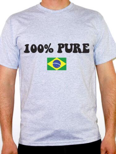 100/% PURE BRAZILIAN Novelty Fun Themed Mens T-Shirt Flag Brazil