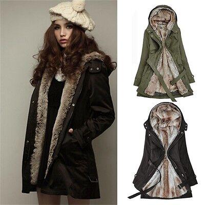Faux Fur Military Parka Women's Hood Overcoat Puffer Jacket Outwear Trench Coat