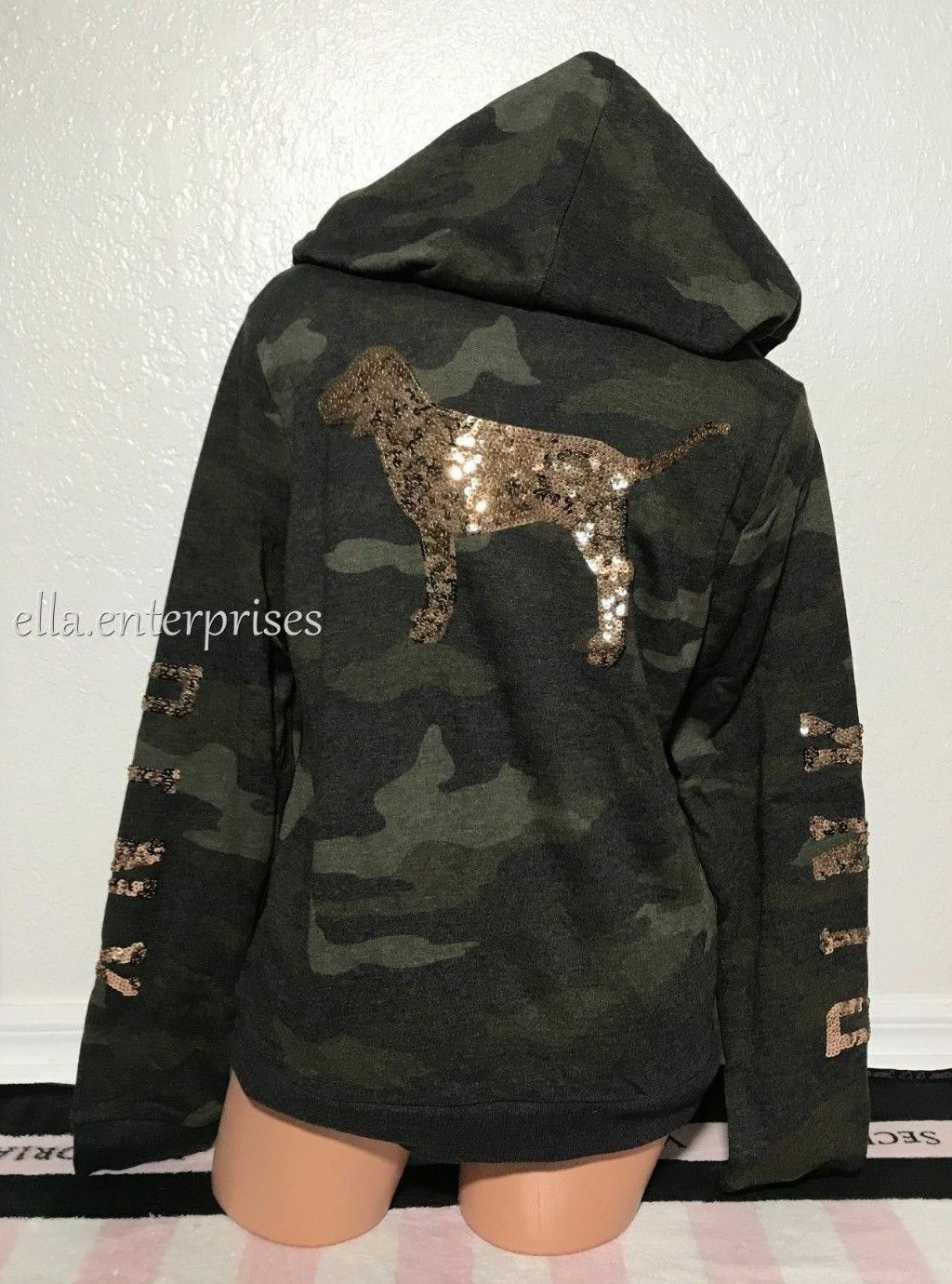 Victoria's Secret Pink Camo pink gold Bling Perfect Full Zip Up Hoodie - XS, M