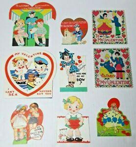 Vtg 1930-40s Valentine Cards Die Cut Lot Of 9 #5 Girls Boys Train