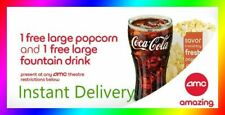 AMC Theaters Large Popcorn & Large Drink || Fast E-Delivery - Exp 6/30/20