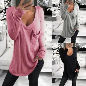 Mode-Femme-Haut-Tops-Decontracte-lache-Mince-Manche-Longue-Poche-Tops-Shirt-Plus