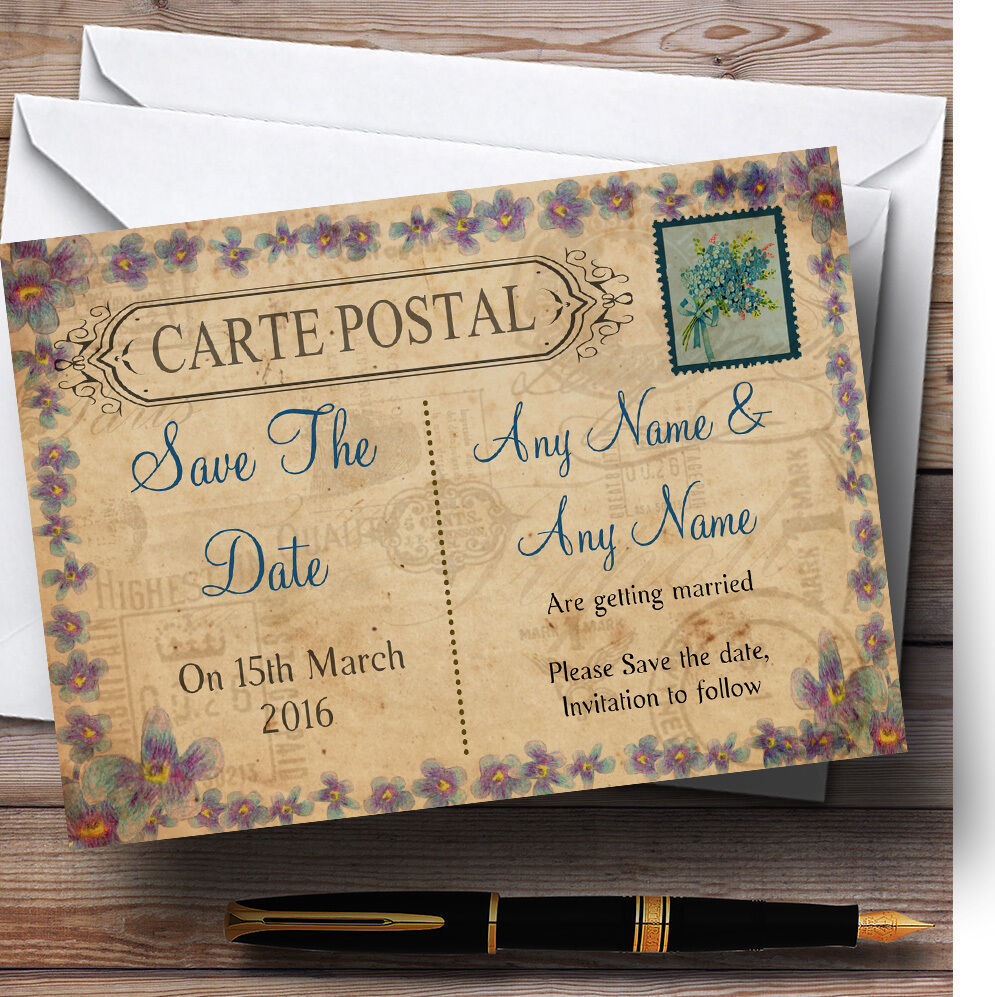 Postcard Rustic Blau Stamp Personalised Wedding Save The Date Cards