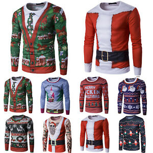 Mens-Christmas-T-Shirt-Long-Sleeve-3D-Santa-Elf-Reindeer-Tops-T-Shirt-Xmas-Gift