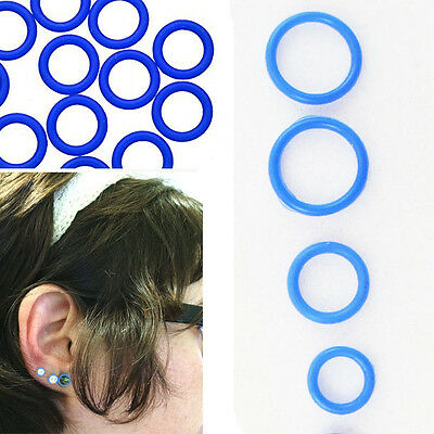 10Pc BLUE Set Ear Gauges Plugs Tapers Tunnels Rubber Navy Replacements O-Rings