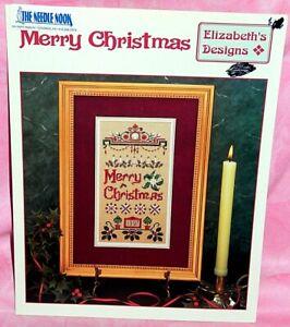 Elizabeth-039-s-Designs-Merry-Christmas-Cross-Stitch-Chart-Leaflet-Sampler
