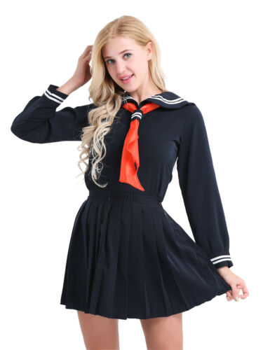 Japanese Anime School Girl Sailor Uniform Outfit Cosplay Costume Sailor Dress