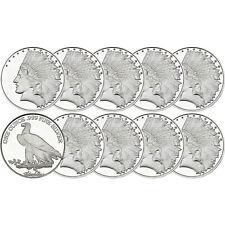 SilverTowne $10 Gold Indian Struck in .999 Silver Medallion 10 Piece Lot