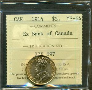 From-The-Hoard-1914-Canada-Gold-5-00-Ex-Bank-Of-Canada-ICCS-MS-64