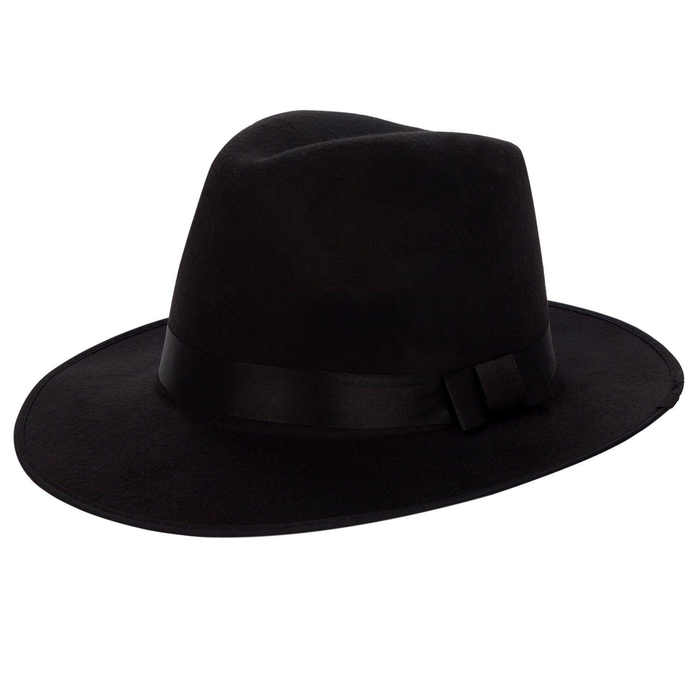 09dd115ad Black Vintage Style Men's Women's Hard Felt Wide Brim Fedora Trilby ...
