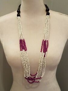 Vintage Long Multi-strand Seed Bead Necklace Purple White Black Wooden Statement