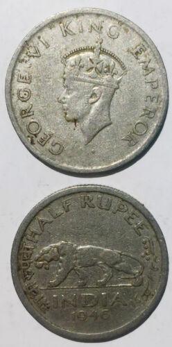India 1//2 half rupee 1946-1947 24mm co-ni coin