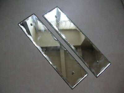 Ancienne paire de plaques de propreté en miroir verre biseauté de 24 cm