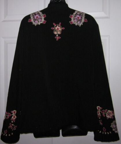 Womens C Large Embroidery sharp Jacket Coldwater Creek W Blazer Black Must 1T6BgqwR