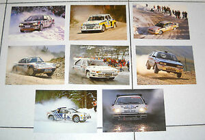 8-Cartoline-RALLY-Nuove-Postcard-cartolina-Lancia-Delta-Porsche-Renault-Rallie