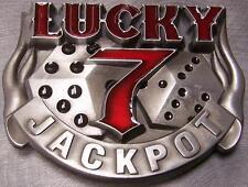Pewter Belt Buckle Gamble Lucky 7 Jackpot  NEW