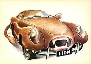 Carte-Postale-Signe-du-ZODIAC-LION-serie-Automobile