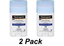 2pk- Neutrogena Sunscreen Ultra Sheer Face & Body Stick SPF 70 1.5oz UVA UVB
