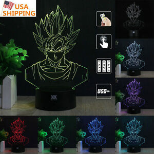 Details about 3D Son Goku Acrylic Lamp LED Night Light 7 Colors Desk Table  Lamp Birthday Gifts