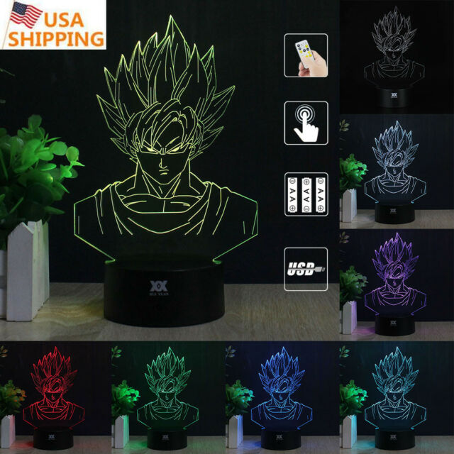 3D Son Goku Acrylic Lamp LED Night Light 7 Colors Desk Table Birthday Gifts