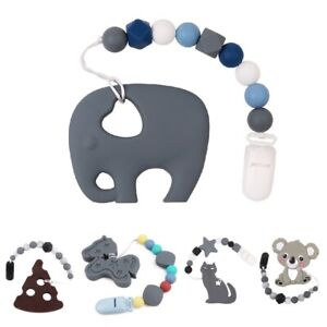 Silicone-Teether-Animal-Elephant-Koala-Pacifier-Chains-Baby-Safe-Clips-Beads