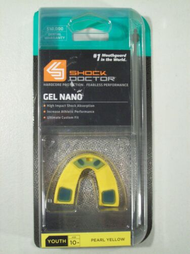 NEW SHOCK DOCTOR GEL NANO YOUTH MOUTHGUARD PEARL YELLOW CUSTOM GEL FIT