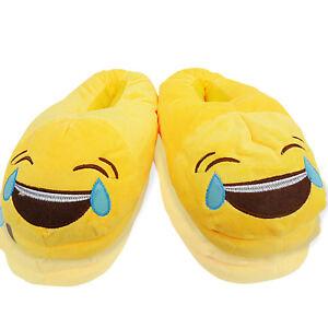 Nuevo Para mujeres Damas emoji Novedad lágrimas llorando Slip On Interior Zapatillas Zapatos Talla