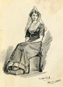 Dorothy B.M. Kerr, A Dutch Girl Seated – Original 1905 pen & ink drawing