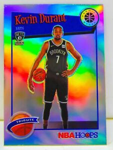 Kevin Durant 2019-20 NBA Hoops Premium Stock Silver Prizm Tribute Card #284 Nets