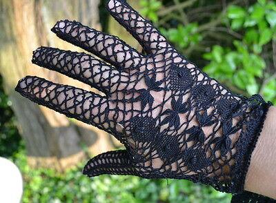 Gants Fuseaux Crochetés Noir Taille 7.5 -agnès De Réa-