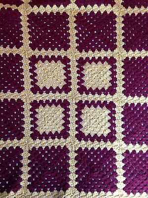 """Handmade Afghan Maroon Gold Squares 67x50"""" Knit Crochet Wheelchair Baby Lap"""